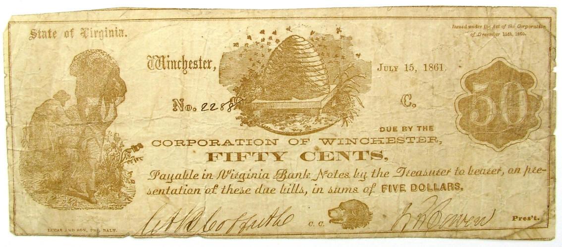 The Central Bank Of Virginia staunton Virginia two dollar note reproduction .