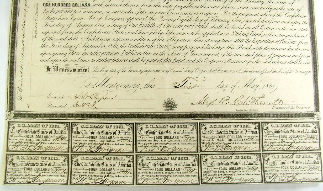 Ridgeway Reference Archive Currency Confederate Bonds
